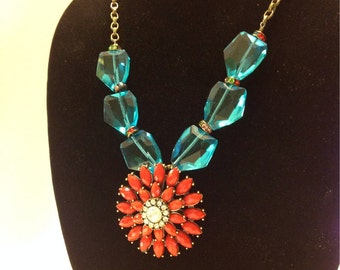 50% Off Coral Starburst and Turquoise Necklace
