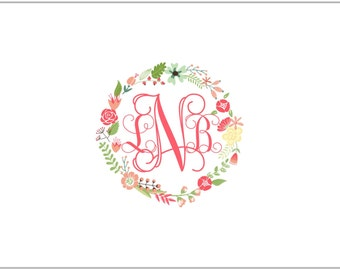 Monogram and Wreath Large Fold Over Note Cards- PINK
