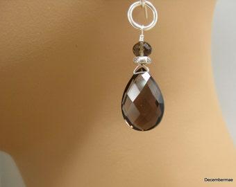 Smoky Quartz Briolette Earrings in Sterling Silver