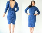80's BACKLESS Pucker Back Scrunch Butt Dress 50's Style Vintage Cobalt Blue denim Dress Ruched Butt Dress With Fabric Buttons -Large