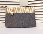 Zipper Clutch Bag with Gold Chevron