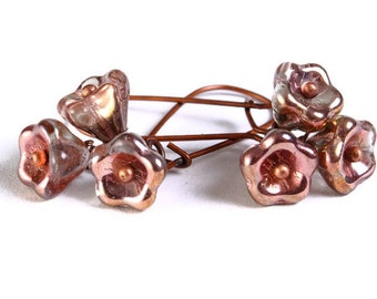Handmade copper clear Czech bell flower floral dangle earrings (692) - Flat rate shipping