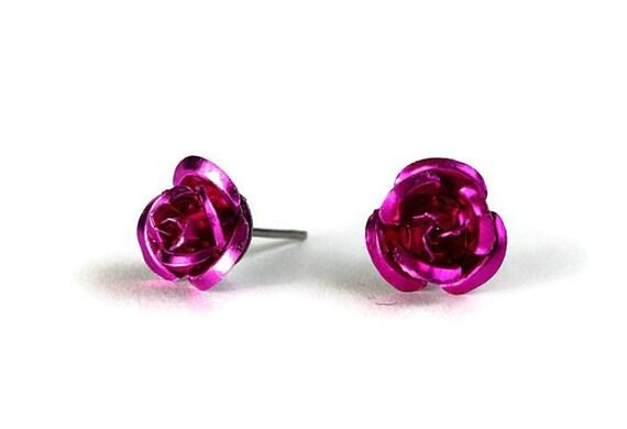 Sale Clearance 20% OFF - Fuchsia purple aluminum rosebud hypoallergenic stud post earrings (235)