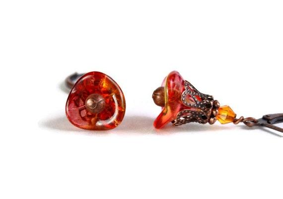Fuchsia lemon bell flower earrings (287) - Flat rate shipping