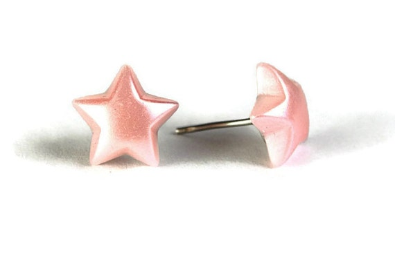 Pastel pink star stud earrings (265) - Flat rate shipping