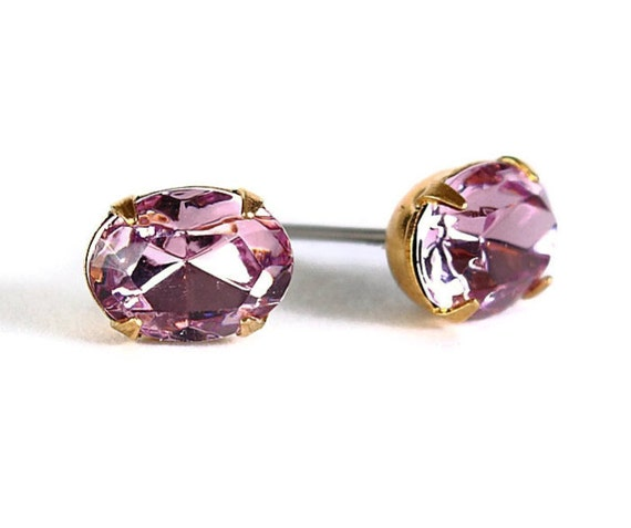 Estate style lavender purple rhinestone crystal stud earrings READY to ship (337) - Flat rate shipping