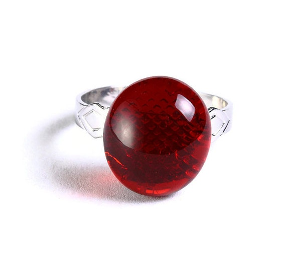 Red glass adjustable silver ring petite cocktail ring OOAK (682) - Flat rate shipping