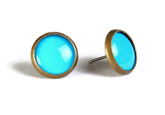 Blue hypoallergenic stud earrings (510) - Flat rate shipping