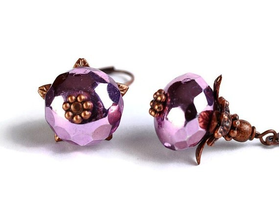 Metallic violet pink ice Czech glass rondelle antique copper earrings READY to ship (392) - Flat rate shipping