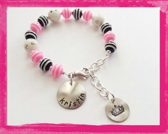 Personalized Charm Bracelet - Hand Stamped Custom Bracelet for Children PRINCESS and HER CASTLE