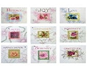 Set of Nine Photographic Cards of Inspirational Word Quilts - by The Butterfly Quilter