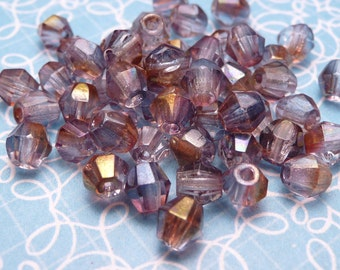 Lavender AB Glass Bicone Beads 4mm - 20 pc