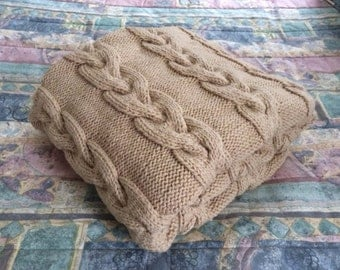 SALE: Chunky Hand Knit Double-strand Blanket, Lace 50x62.