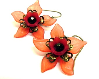 Red and black  dangle lucite Flower earrings