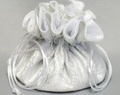 Silver & White Floral Bridal Brocade---Jewelry Organizer Travel  Pouch---Medium Size