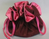 Cranberry Color Soft Suedecloth Jewelry Travel Tote--Organizer Pouch--Medium Size