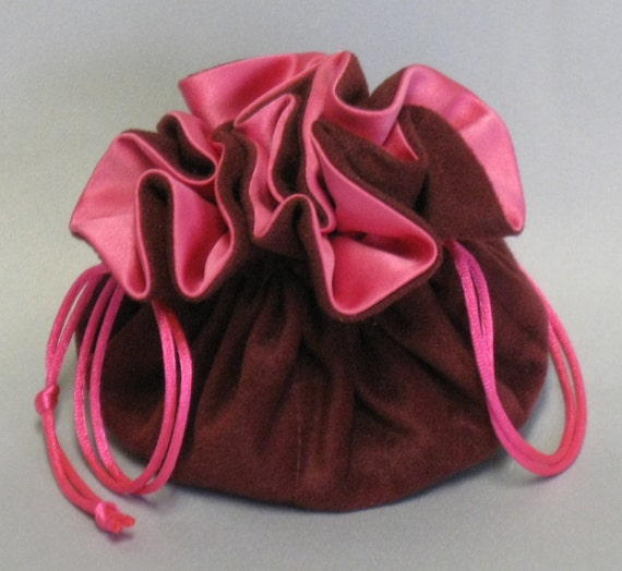 Jewelry Travel Tote---Cranberry Color Soft Suedecloth---Organizer Pouch--Medium Size
