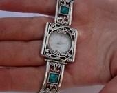 NEW Israel Original Handmade Fine Silver Filigree Turquoise Bracelet Watch (s w3905)