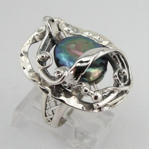 Great Hand Crafted Art  Sterling Silver Pearl Ring size 7(s r1699)