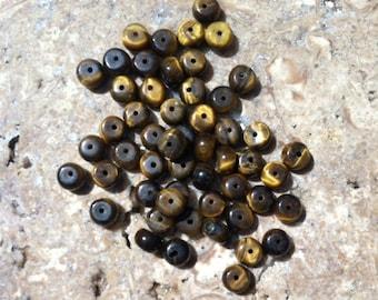 Tiger Eye TigerEye Rondel Beads  5.5mm  6.0mm Drilled 51 Count