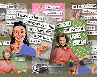 Fabulous Fifties Quotes 4x4 Inch Coasters Digital Collage Sheet Printable Images Squares Words Sayings Typography DIY