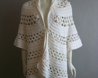 70s open weave CROCHETED sweater jacket Boho Chic medium