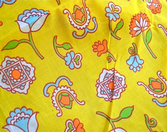 Vintage Fabric - Mod Floral Organdy in Yellow - By the Yard