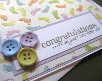 congratulations...on your new little one with baby footprints and buttons - handmade baby greeting card