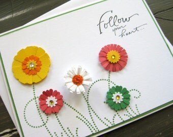 follow your heart with vibrant paper flowers and swirly grass - handmade greeting card