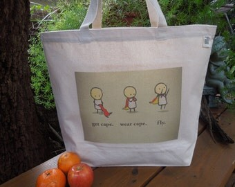 Natural cotton market tote - Canvas tote - Large canvas bag - Reusable shopping bag - SUPER hero - get cape and fly
