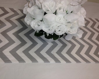 """RTS Lot of 6 tablerunners, 68"""" x 13"""" wedding decorations, Grey and white, chevron zig zag cotton  fabric 621"""