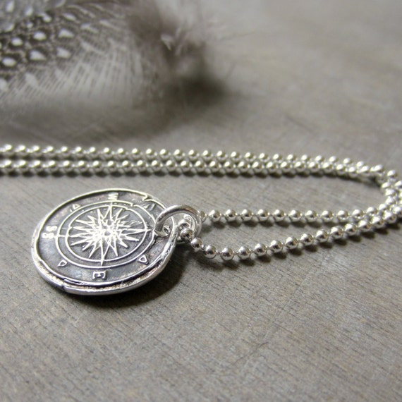 Compass Pendant, Rose Compass Necklace, North Star Jewelry, Compass Jewelry, PMC Fine SIlver Jewelry, Silver Compass Wax Seal, PMC Jewelry