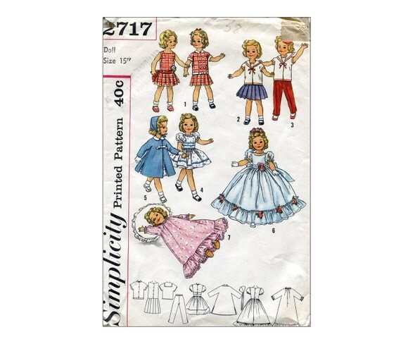 "1950s 15"" Shirley Temple Doll Clothes Sewing Pattern Simplicty 2717 ..."