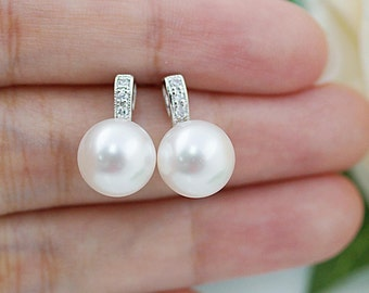 Wedding Bridesmaid Gift Bridal Jewelry Bridesmaid Jewelry Bridal Earrings Bridesmaid Earrings Swarovski Pearl stud earrings
