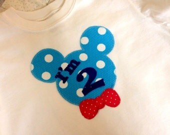 Personalized Numbered Minnie or Mickey Ears Celebrating a Very Happy Birthday Shirt for Boys and Girls