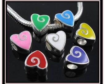 Colorful Enamel Heart Charm  - Fits European Style Bracelets