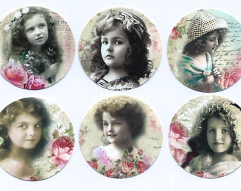 Stickers, Vintage Girls & Roses, Victorian Style, Sticker Seals