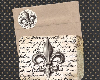 Note Cards, French Style, Fleur de Lis, French Stickers