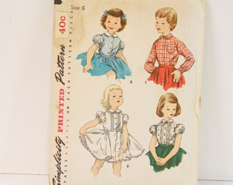 Vintage 1950s Simplicity Childs Blouse and blouse Petticoat Pattern 1287 Size 6