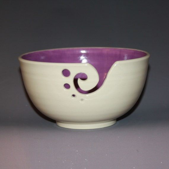 Crochet Yarn Bowl : Yarn Bowl / Knitting Bowl / Crochet Bowl / Purple and White Yarn Bowl ...