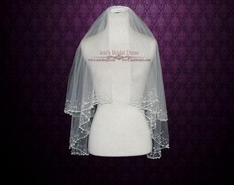 Two Tier Fingertip Veil with Pearl Beadings | Wedding Veil | Bridal Veil | Short Wedding Veil | Crystal Veil | Tulle Veil | VG1023