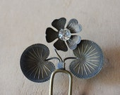 Art Nouveau Lily Pad French Paste Hair Comb / Wedding Hair Ornament