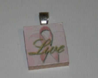 Breast Cancer Awareness Scrabble Tile Pendant #5