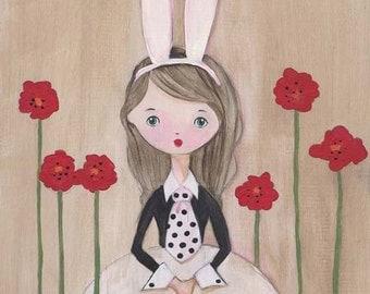 White Rabbit Rabbit Girl Art Print