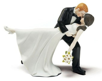 A Romantic Dip Dancing Bride and Groom Wedding Cake Topper- Porcelain Hand Painted Couple 1st Dance Romance in the Air