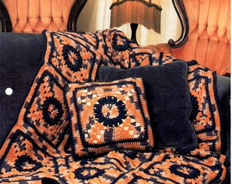 Victorian Squares Crocheted Granny Squares Blanket Afghan Pillow Blues and Whites Earth Tones Orange Browns Pattern Craft Leaflet