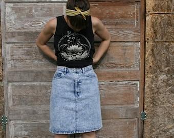 Festival Heart, High waisted denim acid wash skirt size M