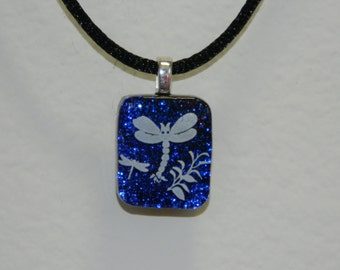 Dichroic Fused Glass Pendant, Dragonflies on Blues