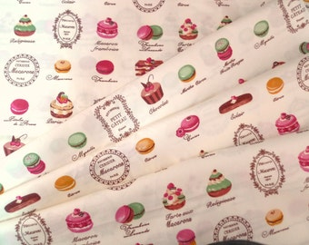 Macarons fabric, Cotton fabric, Japanese fabric, French cakes, Pale yellow fabric, 1/2 yard FB088