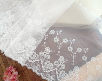 Embroidered lace, lace trim, bridal lace, tulle lace, net lace, baptism lace, white lace, 2 yards  WT235